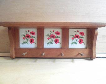 Vintage Poppy Shelf * Entry shelf * Cottage chic hangers/shelf