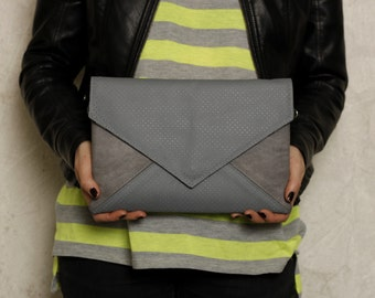 Clutch bag envelope grey perforated vegan leather bag faux leather suede purse handbag strap pocket zipped wedding bridesmaid evening
