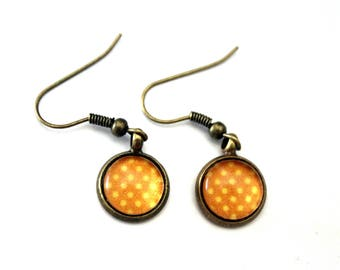"Earrings cabochon ""yellow polka dot on orange"" - retro bronze plated brass"