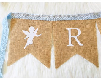 Personalised Burlap Bunting Banner Flags with blue lace and angels