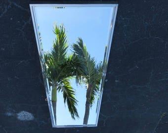 Signed Mid-Century Modern Tall Chrome Beveled Mirror By Mark David.