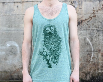 Owl Tank Top, Men's American Apparel Heather Green Tri-Blend Sportswear T-shirt Tee
