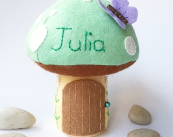 Personalised Tooth Fairy Pillow / Tooth Fairy House / Tooth Fairy Door / Tooth Fairy Pouch / Tooth Fairy Bag / Fairy Toadstool - Mint Green
