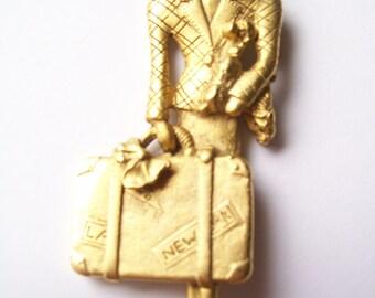 Vintage 80s Glamour Girl Brooch