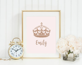 Personalized baby name, baby girl custom name, monogram print, custom name print, blush pink, rose gold, glitter print, nursery name print