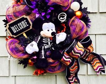 Mickey Mouse  Wreath, Halloween Disney Wreath, Mickey Mouse Halloween Wreath, Mickey Skeleton Disney Wreath, Black, White, Orange and Purple