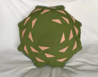 Leather and fabric octagonal cushion