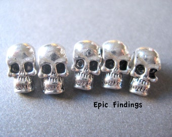 Sale!! Tibetan Silver Skull Beads, Steampunk Skull Beads, Charms, Loose Beads, Findings, Jewelry Design, Craft Suppiies