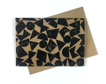 Modern Patterned Card, Block Printed