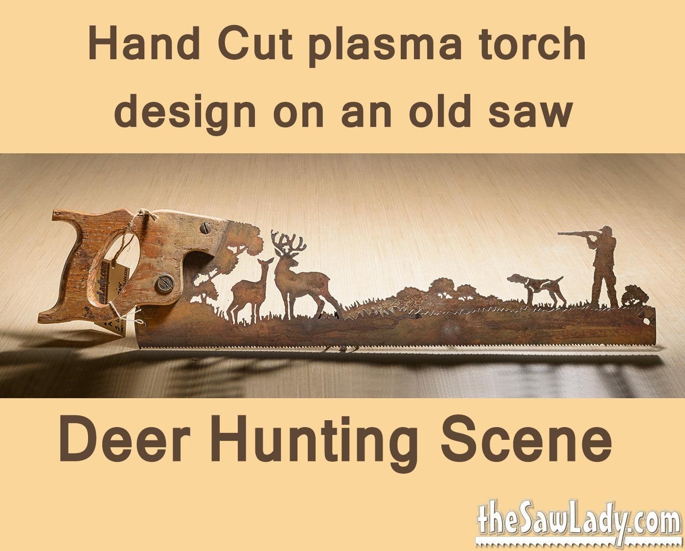 Metal Art Deer Hunter design Hand cut plasma hand saw Wall