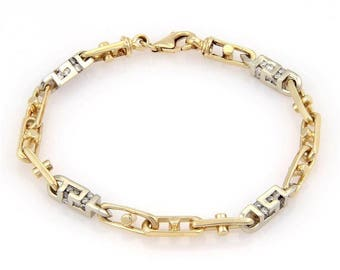 14183 - Estate Diamond 3D Box Link 14k Two Tone Gold Bracelet