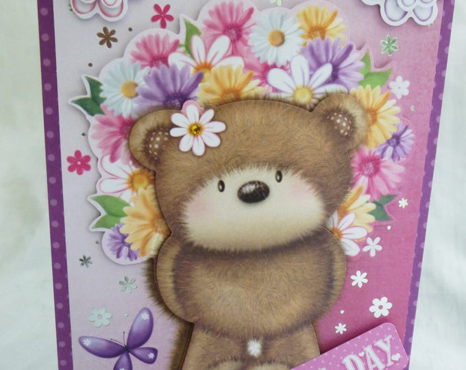 3D Decoupage Card, Birthday Card, Greeting Card, Brown Bear with Flowers, Special Day, Any Age, Female, Mum, Daughter, Sister, Niece, Aunt