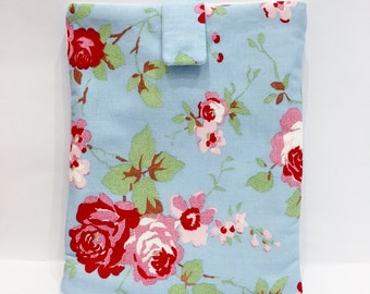 Blue Cath Kidston Fabric Kindle Sleeve / e-Reader Case/ - White with Pink Cabbage Roses/ Gift for Her