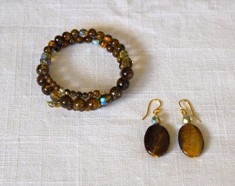 PATRICIA Bracelet and Earring Set in Tiger Eye