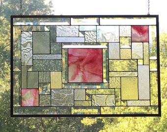 "Large Clear and Red Geometric Stain Glass Abstract Panel ""Summer Storm"""