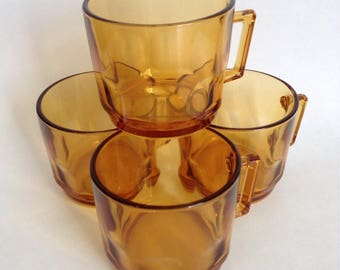 Set of 4 Vintage Arocroc Amber Glass Mugs