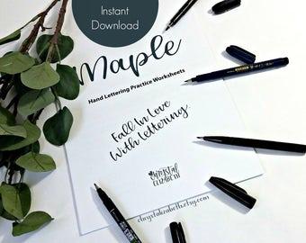 Brush pen modern calligraphy practice worksheet packet basic