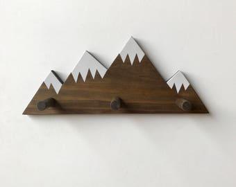 Mountain Peak Wall Hook, Mountain Wall Hook, Coat hooks, Towel hook, Woodland Nursery Decor, Woodland Theme, Wall Hooks for Kids