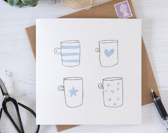 Four Blue and White Coffee Mug, Tea Cup Blank Greetings Card, Note Card