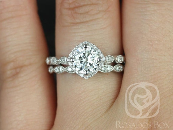 Rosados Box Katya 7mm 14kt White Gold Round F1- Moissanite and Diamond Halo WITH Milgrain Classic Wedding Set