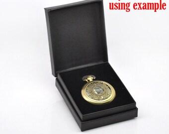 Pocket Watch Case - Black Velvet Gift Box - Fits 45mm Watch - Ships IMMEDIATELY  from California - PW07