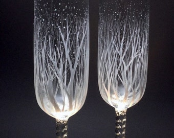 Winter Wedding Toasting Flutes with optional personalization