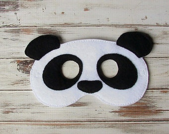 Panda Bear, Kids  Mask, Animal, Felt Mask, Pretend Play, Dress Up, Halloween, Costume