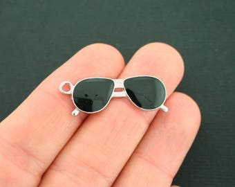 5 Sunglasses Charms Silver Plated With Black Enamel - E335