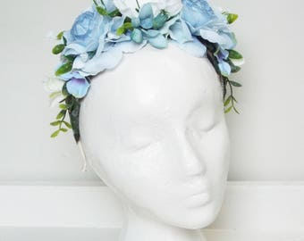 Blue & White floral headpiece