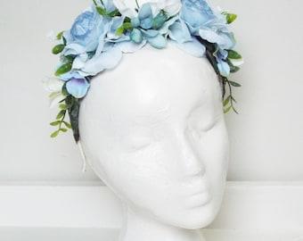 Blue & White floral headpiece