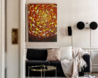 Abstract Oil Painting Sun Red Yellow Modern Wall Art Contemporary Art Daily Red Yellow Modern Painting on Canvas Original fine art Artwork