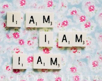 I Am I Am I Am by Sylvia Plath, Bell Jar Quote // Scrabble Wall Art, Floral, Photo Print, Still Life Fine Art, Tumblr - 5x7/8x12/10x15
