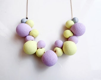 Purple Yellow Bib Necklace, Pastel Colors Statement Necklace, Spring Summer Necklace