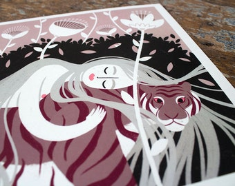 Rapunzel & the Tiger | A4 landscape | illustration art print | pink + black + white | tiger