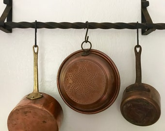 Vintage solid copper strainer decorative hanging wall farmhouse decor