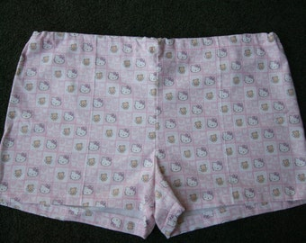 Winter Sale- Pink Heart Hello Kitty Flannel Pajama Shorts