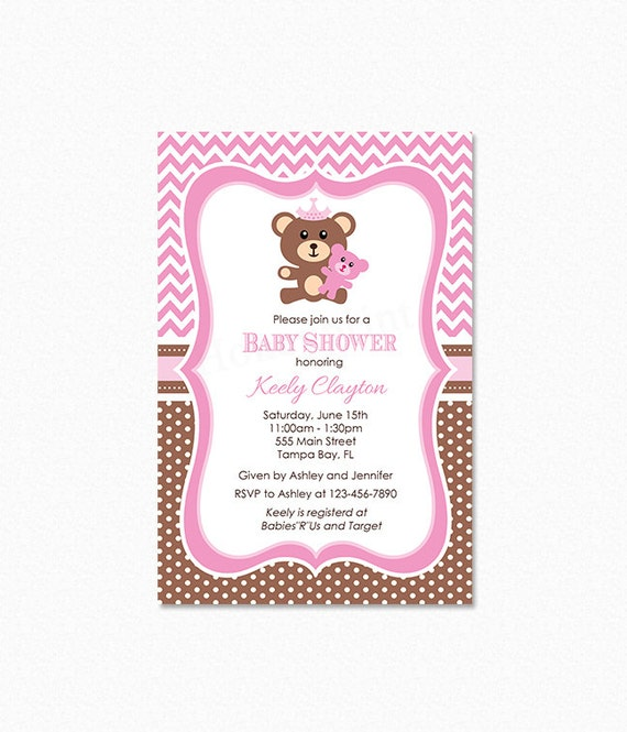 Teddy bear baby shower invitation teddy bear invitation like this item filmwisefo Choice Image