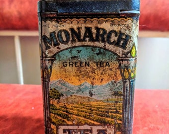 Antique Monarch Green Tea Tin