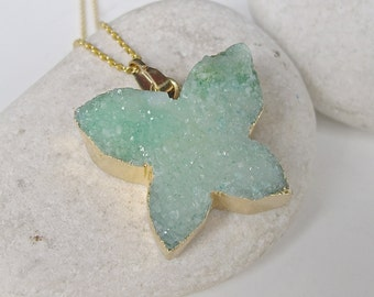 Blue Green Butterfly Druzy Necklace Bohemian Boho Raw Crystal Rough Stone Pendant Raw Stone Jewelry Monarch Butterfly Statement Necklace