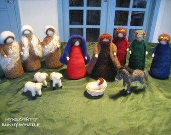 MADE TO ORDER Needle-Felted Wool Nativity Set for Christmas Nature Table, Decoration or to Play with