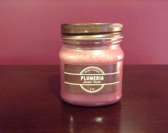 8 oz Plumeria Scented Handmade Soy Candle - Frosted Glass Candle - Container Candle