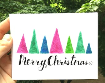 Instant Download, Printable, Christmas Card, Christmas, Merry Christmas Card, Print at Home, Colorful Trees, Holiday Card, Blank Inside