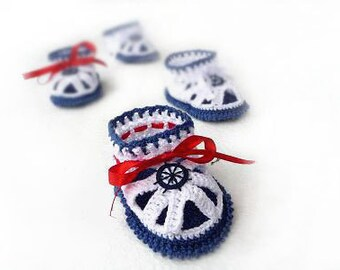 Baby sandals, Crochet Baby Booties - Crochet Baby Sandals - sailor Sandals, blue, white, red, nautical
