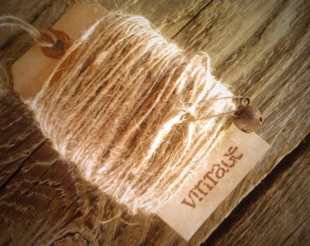25 Yards (75 Feet) Natural  Jute Twine - Wrapped around distressed shipping tag - Finished off with Rusty Safety Pin  & Rusty Bell