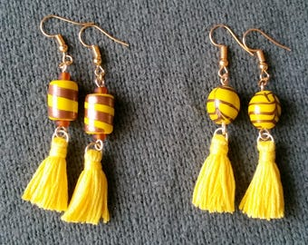 Yellow and pink boho tassel earrings for mother's day gift.Beaded tassel earrings.bohemian tassel dangle earrings