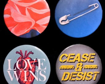 """Mix-and-match any four 2 1/4"""" (2.25"""") pinback buttons or magnets"""