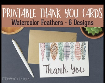 INSTANT Download - Printable Thank You Cards - Watercolor Feathers