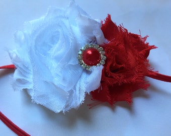 Valentine Baby Headband red with pearl embellishment