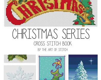 Christmas Cross Stitch Kit, Christmas Cross Stitch Series, Christmas Series, Holiday Embroidery Kit, 5 kits in one set (BOOK08)