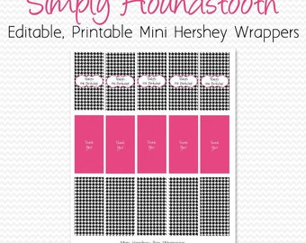 Mini Candy Bar Wrapper, Black and White, Hot Pink, Houndstooth Birthday Party Favor, Bridal Shower Candy Bar Label -- Editable, Printable